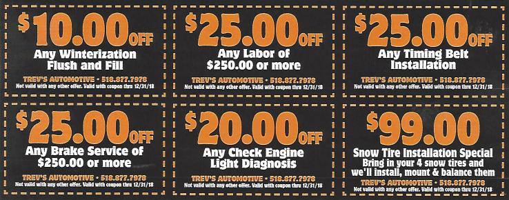 Print Coupons for Auto Service - Trevsautomotive.com