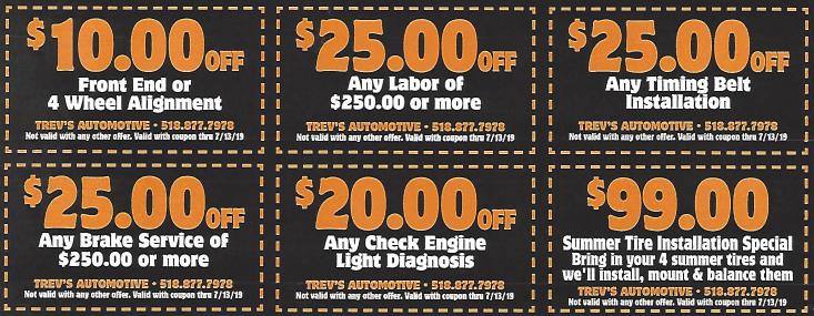 Auto Service Discount Coupones
